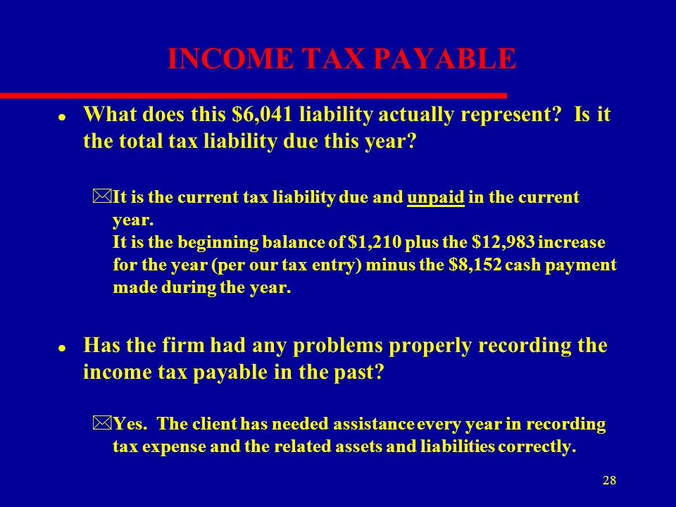 28 INCOME TAX PAYABLE l What does this $6,041 liability actually represent? Is it the total tax liability due this year? *It is the current tax liabil