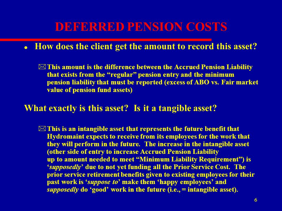 6 DEFERRED PENSION COSTS l How does the client get the amount to record this asset? *This amount is the difference between the Accrued Pension Liabili
