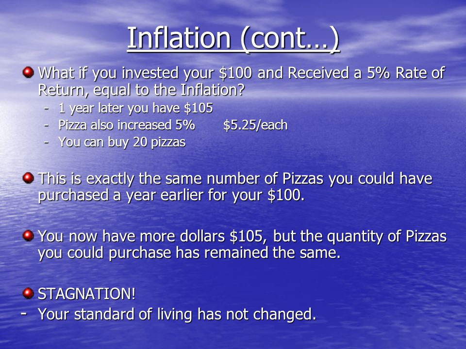Inflation (cont…) What if you invested your $100 and Received a 5% Rate of Return, equal to the Inflation.