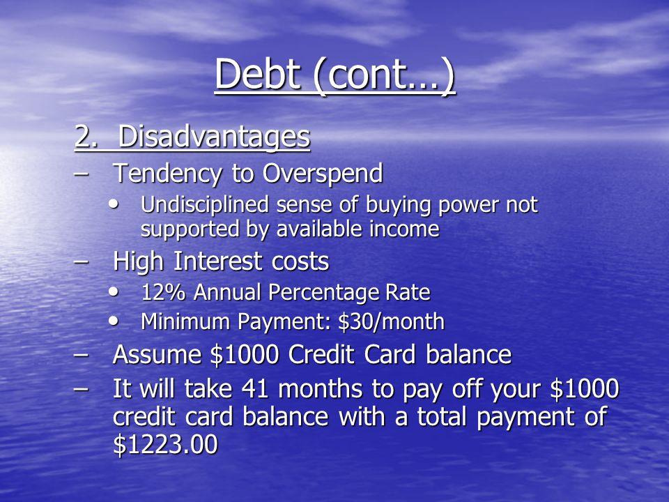 Debt (cont…) 2.