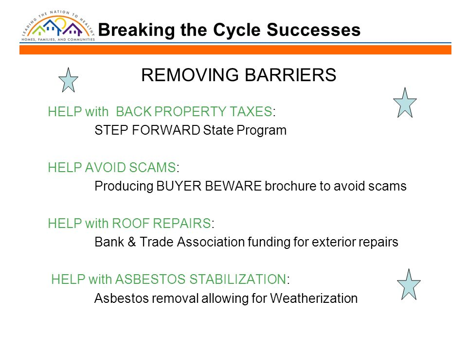 Breaking the Cycle Successes REMOVING BARRIERS HELP with BACK PROPERTY TAXES: STEP FORWARD State Program HELP AVOID SCAMS: Producing BUYER BEWARE brochure to avoid scams HELP with ROOF REPAIRS: Bank & Trade Association funding for exterior repairs HELP with ASBESTOS STABILIZATION: Asbestos removal allowing for Weatherization