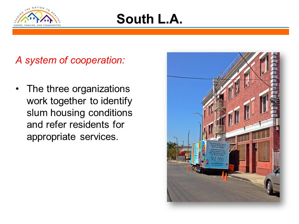 South L.A. A system of cooperation: The three organizations work together to identify slum housing conditions and refer residents for appropriate serv