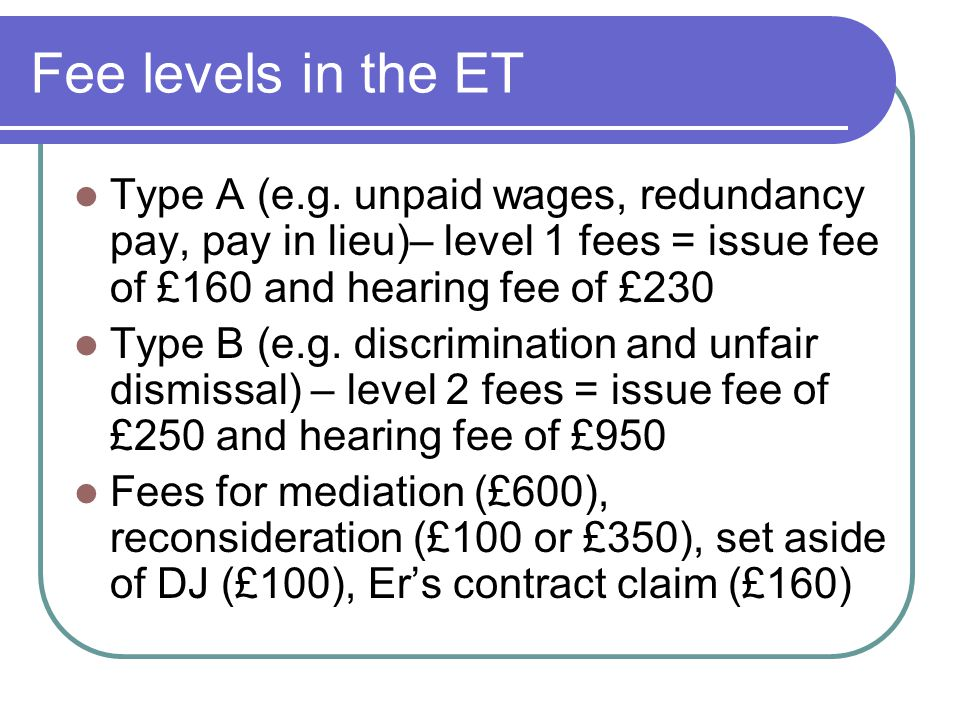 Fee levels in the ET Type A (e.g.
