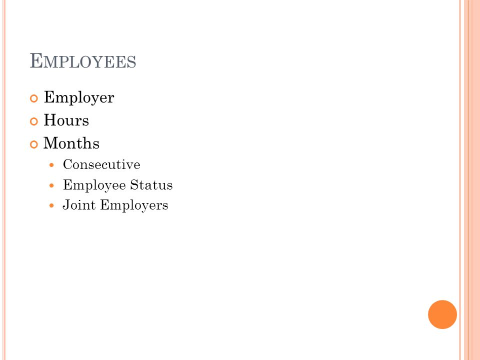 E MPLOYEES Employer Hours Months Consecutive Employee Status Joint Employers