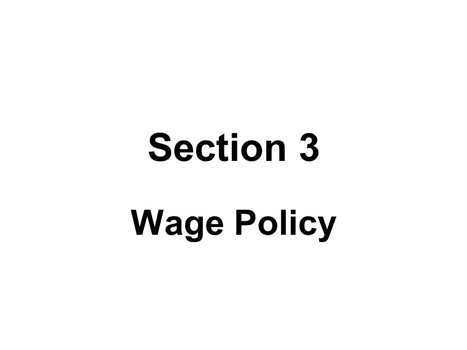 Section 3 Wage Policy