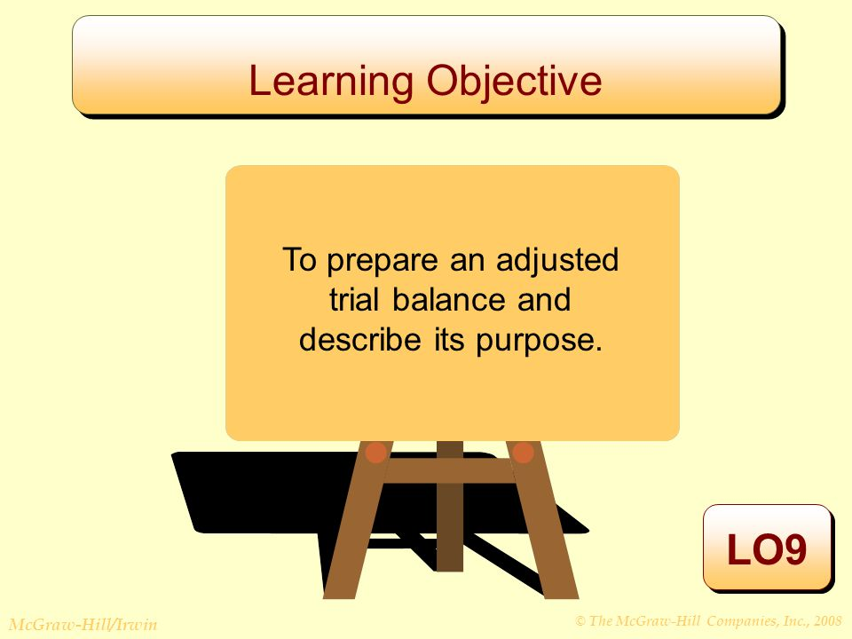 © The McGraw-Hill Companies, Inc., 2008 McGraw-Hill/Irwin Learning Objective LO9 To prepare an adjusted trial balance and describe its purpose.