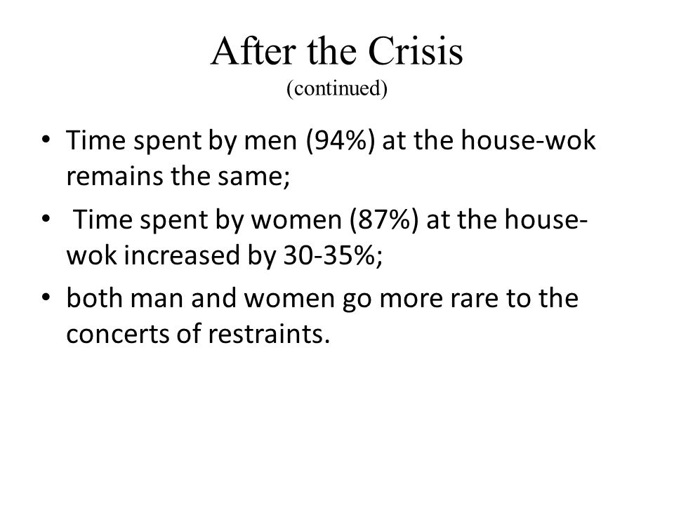 After the Crisis (continued) Time spent by men (94%) at the house-wok remains the same; Time spent by women (87%) at the house- wok increased by 30-35%; both man and women go more rare to the concerts of restraints.