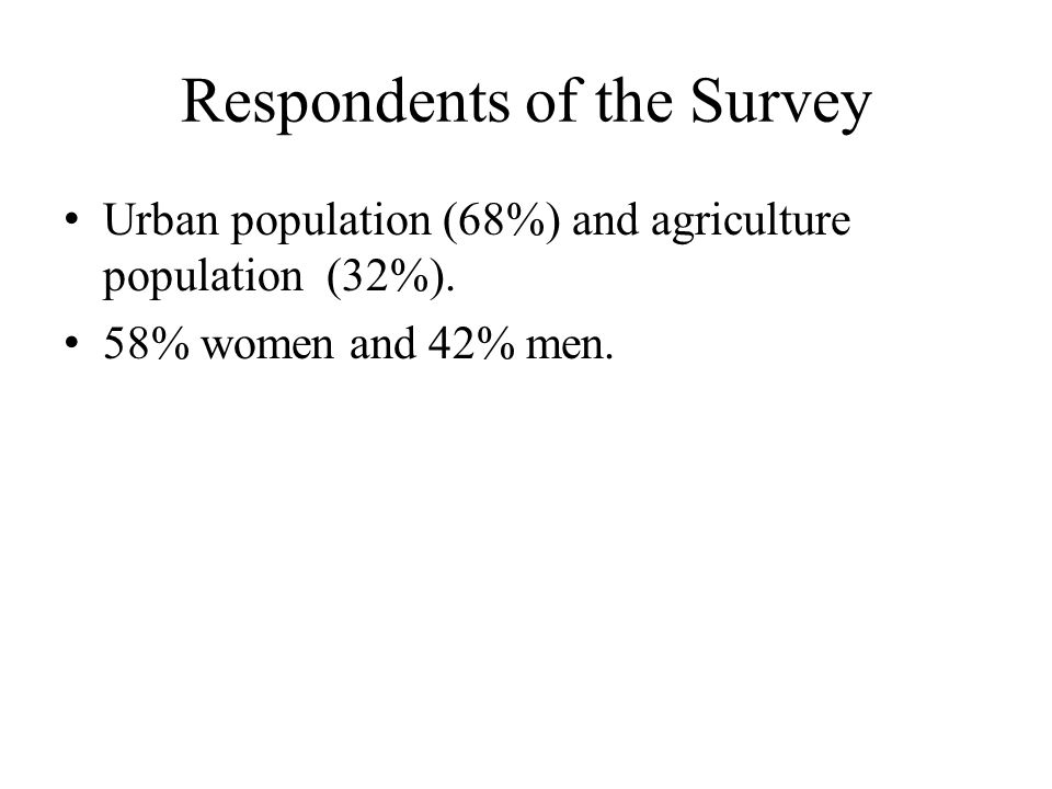 Respondents of the Survey Urban population (68%) and agriculture population (32%).