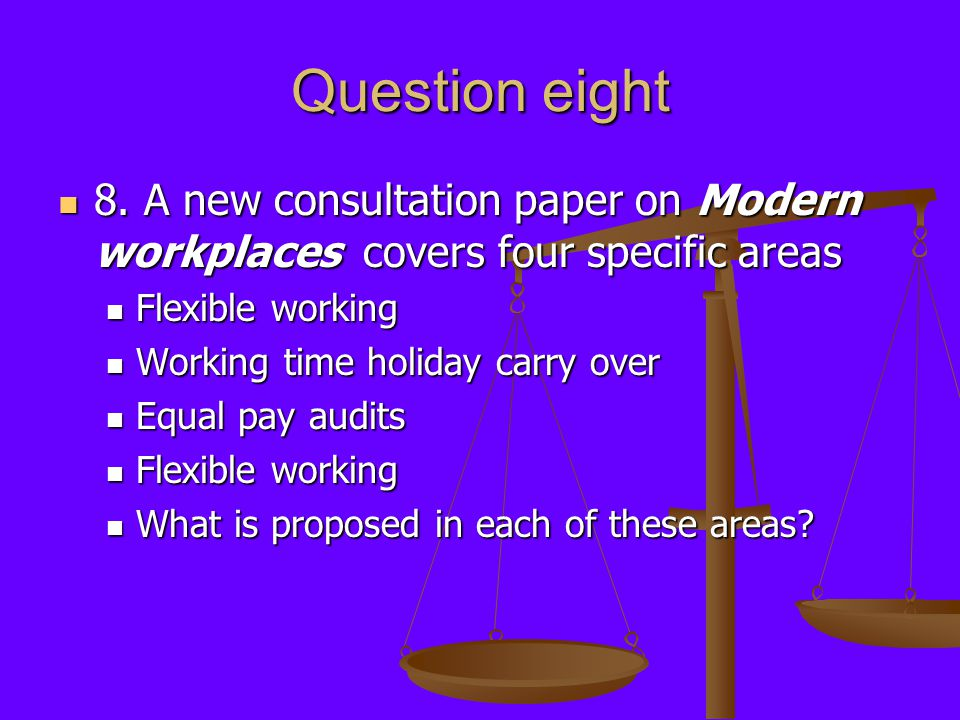 Question eight 8.A new consultation paper on Modern workplaces covers four specific areas 8.