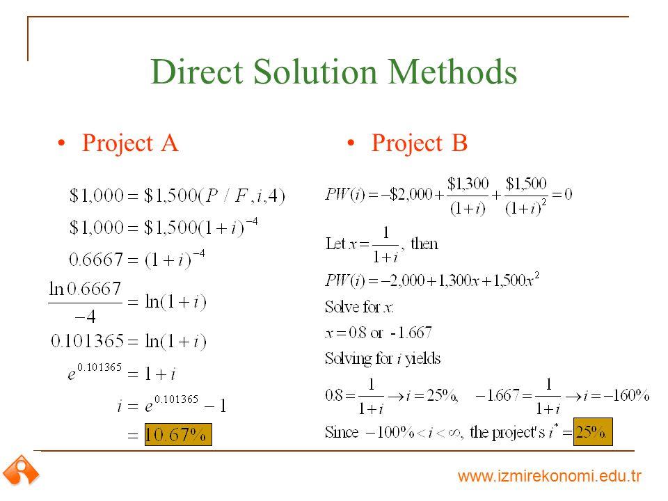 www.izmirekonomi.edu.tr Direct Solution Methods Project AProject B