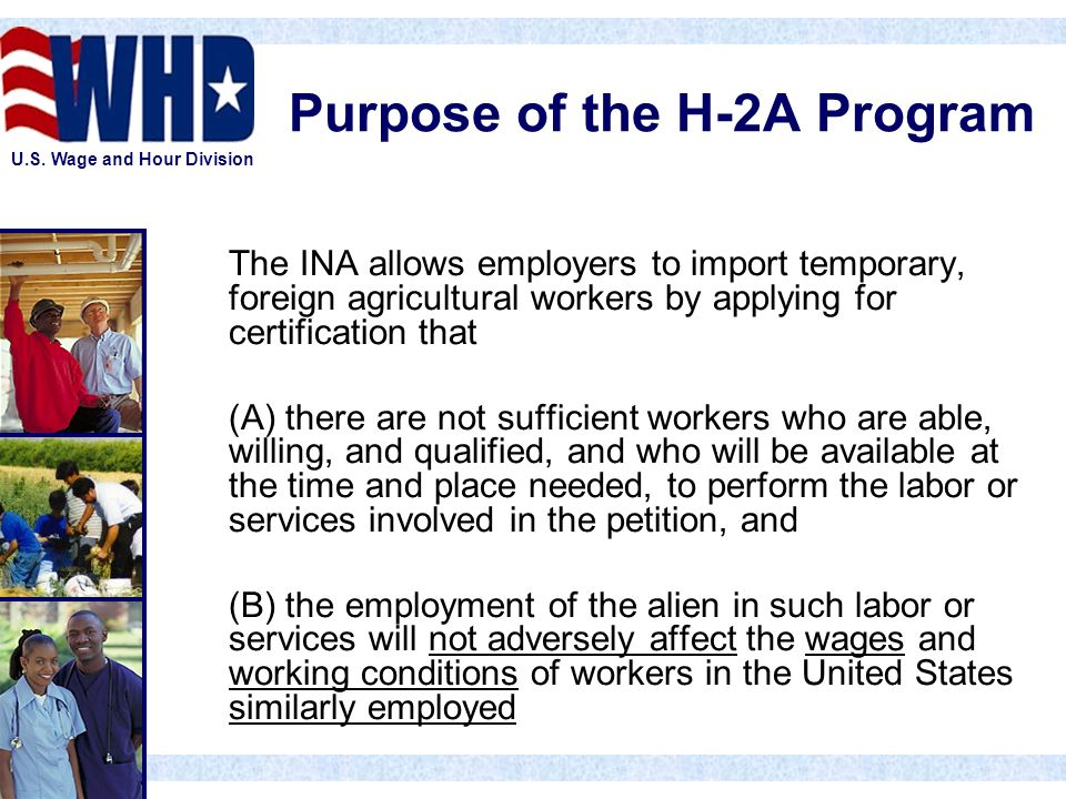 U.S. Wage and Hour Division Purpose of the H-2A Program The INA allows employers to import temporary, foreign agricultural workers by applying for cer