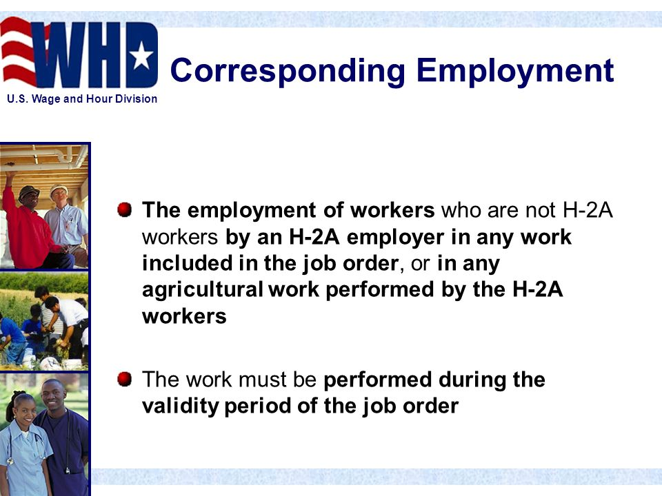 U.S. Wage and Hour Division Corresponding Employment The employment of workers who are not H-2A workers by an H-2A employer in any work included in th