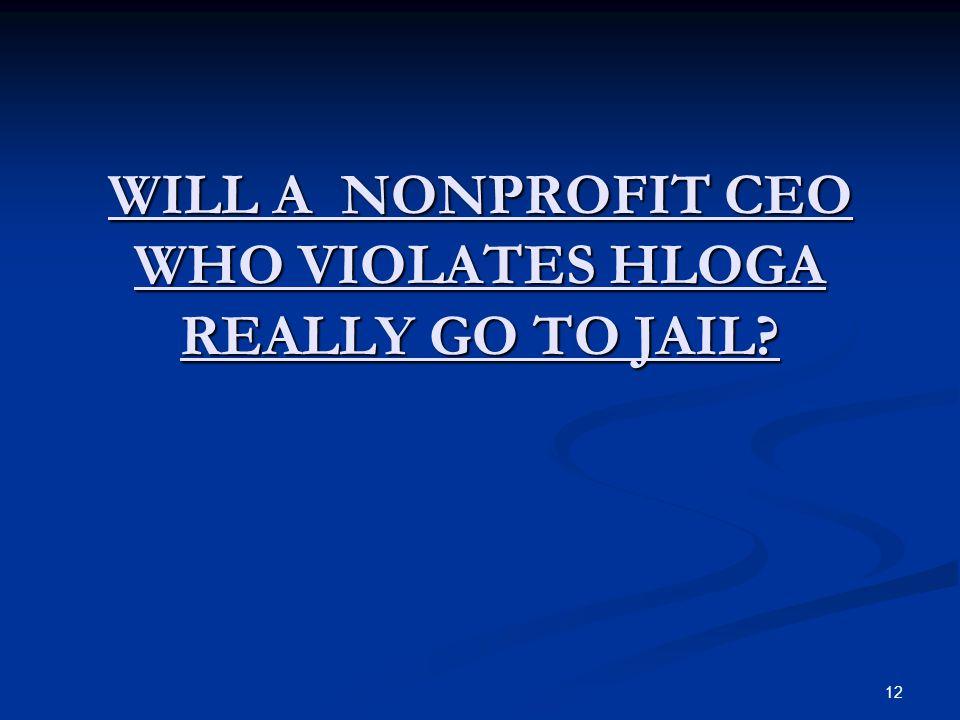 12 WILL A NONPROFIT CEO WHO VIOLATES HLOGA REALLY GO TO JAIL