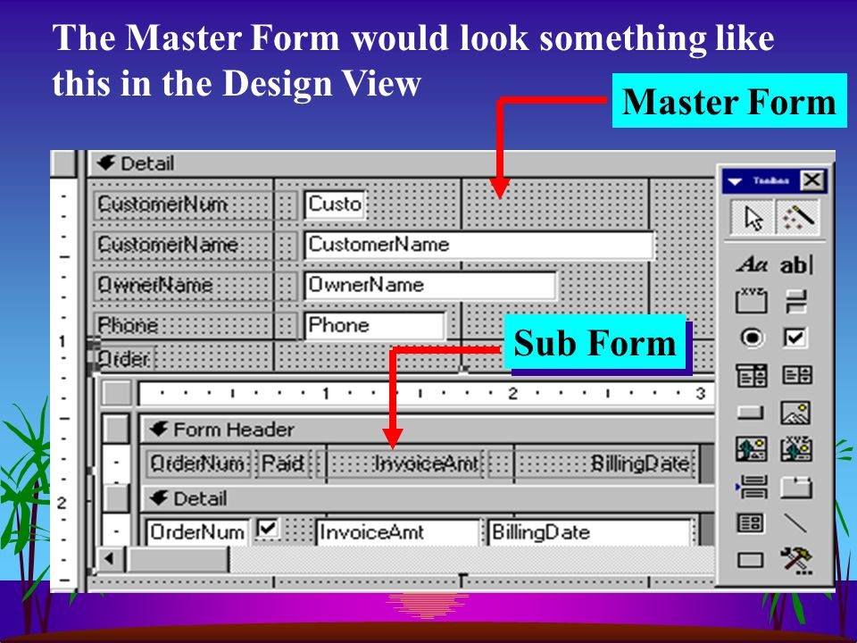 The Master Form would look something like this in the Design View Master Form Sub Form