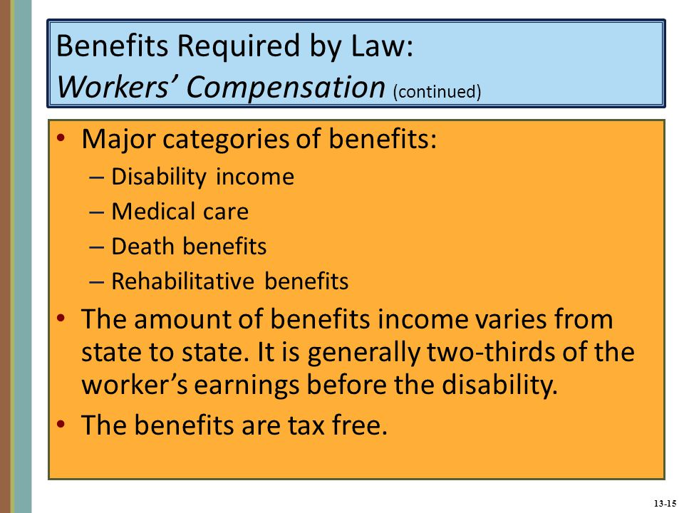 13-15 Benefits Required by Law: Workers' Compensation (continued) Major categories of benefits: – Disability income – Medical care – Death benefits – Rehabilitative benefits The amount of benefits income varies from state to state.
