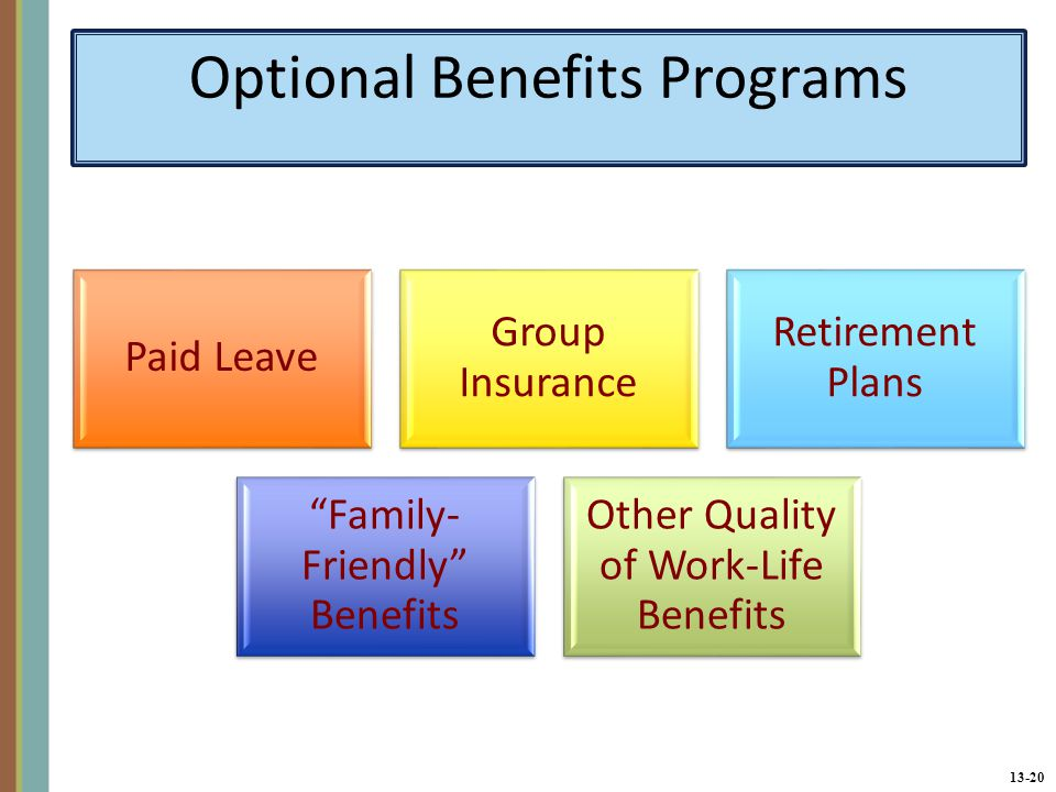13-20 Optional Benefits Programs Paid Leave Group Insurance Retirement Plans Family- Friendly Benefits Other Quality of Work-Life Benefits