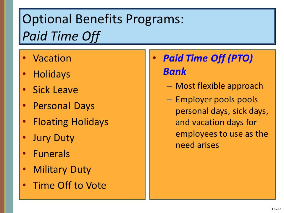 13-22 Optional Benefits Programs: Paid Time Off Vacation Holidays Sick Leave Personal Days Floating Holidays Jury Duty Funerals Military Duty Time Off to Vote Paid Time Off (PTO) Bank – Most flexible approach – Employer pools pools personal days, sick days, and vacation days for employees to use as the need arises