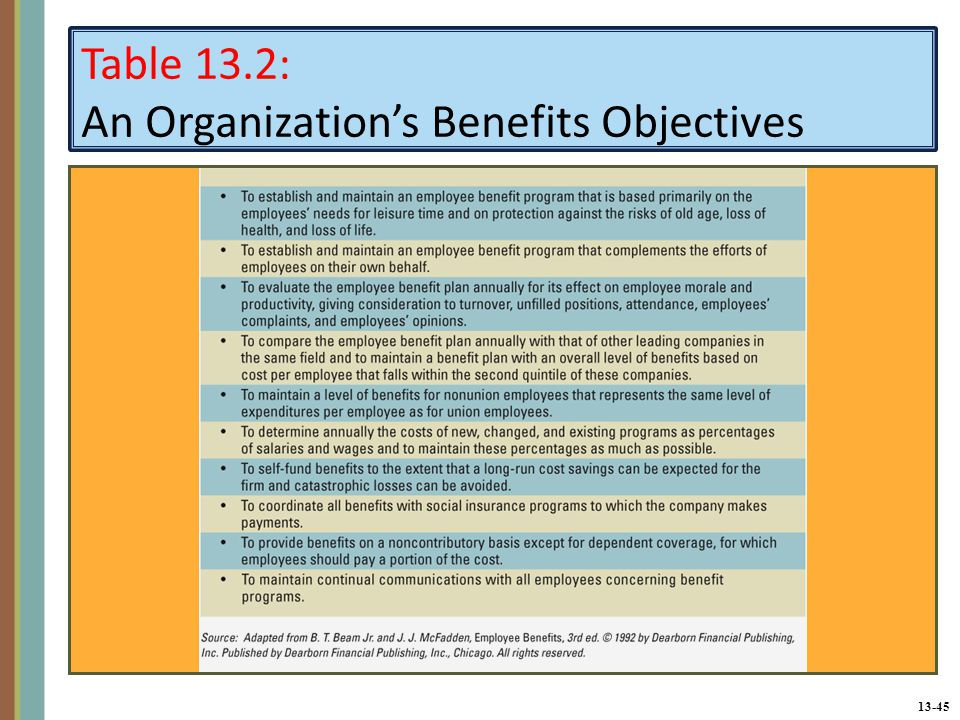 13-45 Table 13.2: An Organization's Benefits Objectives