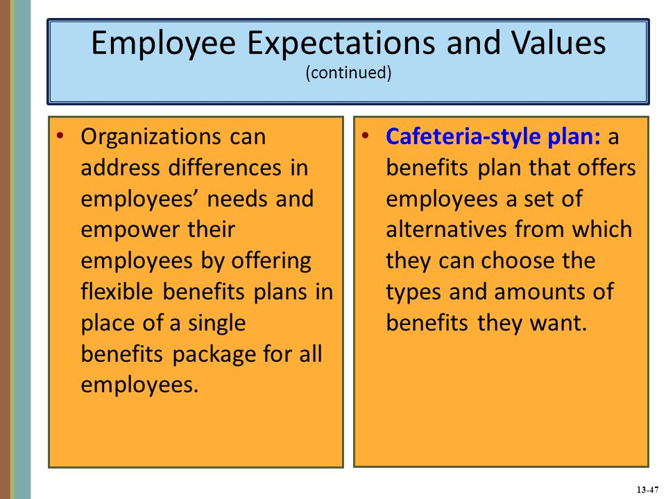 13-47 Employee Expectations and Values (continued) Organizations can address differences in employees' needs and empower their employees by offering flexible benefits plans in place of a single benefits package for all employees.