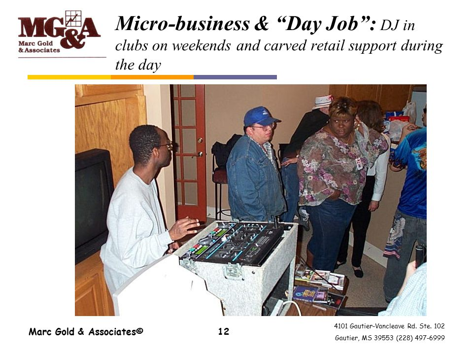 "4101 Gautier-Vancleave Rd. Ste. 102 Gautier, MS 39553 (228) 497-6999 Marc Gold & Associates©12 Micro-business & ""Day Job"": DJ in clubs on weekends and"