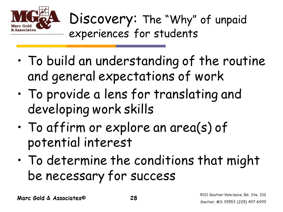 "4101 Gautier-Vancleave Rd. Ste. 102 Gautier, MS 39553 (228) 497-6999 Discovery: The ""Why"" of unpaid experiences for students To build an understanding"
