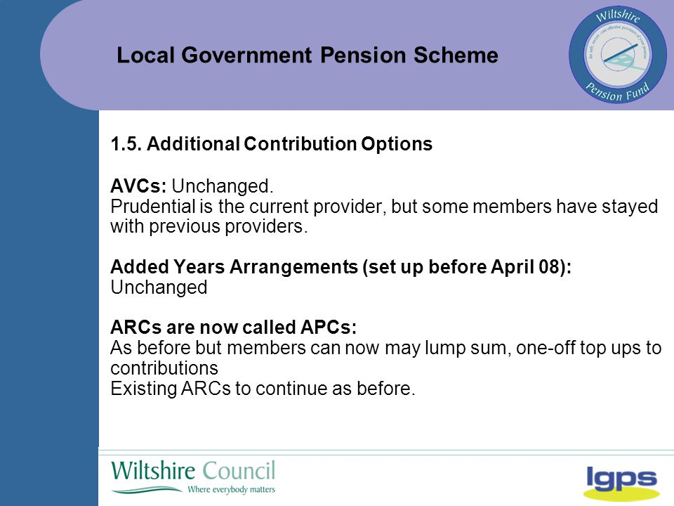 Local Government Pension Scheme 1.5. Additional Contribution Options AVCs: Unchanged.