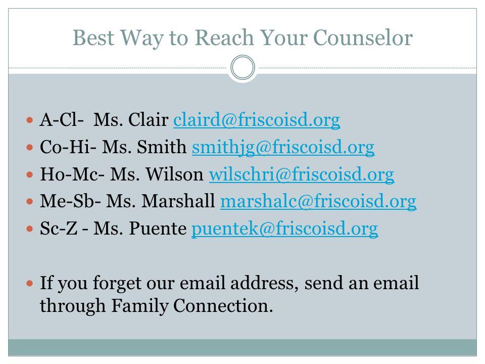 A-Cl- Ms.Clair claird@friscoisd.orgclaird@friscoisd.org Co-Hi- Ms.