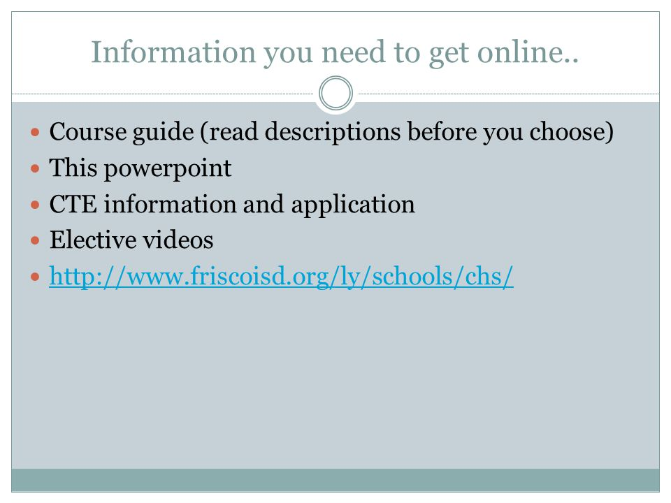Information you need to get online..