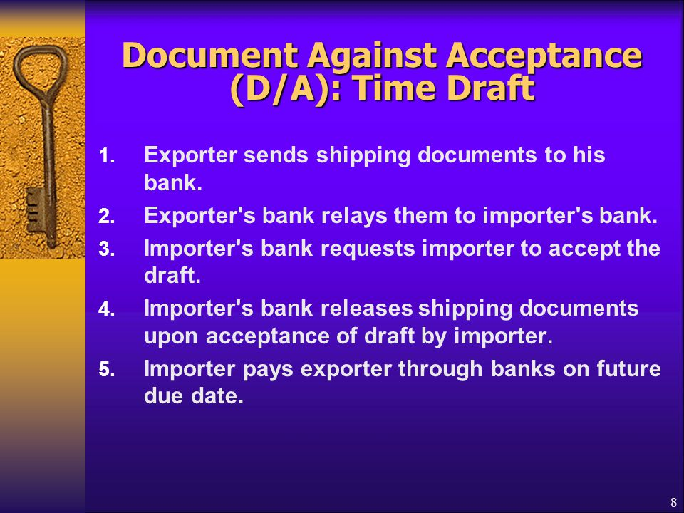 29 Back to Back Letter of Credit  Used when original LC is not transferable or supplier of the goods is not familiar with exporting or wants a different term of payment  Supplier wants payments upon shipment from his place or delivery to the place designated by exporter such as payments against the Dock Receipt  Beneficiary of original L/C (First L/C or Master L/C) pledges his L/C to his bank as collateral to open a second L/C (Back to back L/C)  Beneficiary's bank opens a separate L/C to the supplier of the beneficiary of the 1 st L/C  Even if first L/C defaults, back-to-back L/C remained bound for payment  Riskier to the Bank than transferable L/C
