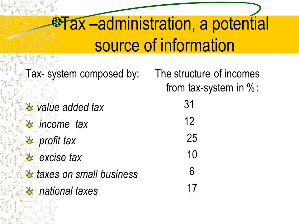 Tax –administration, a potential source of information Tax- system composed by: value added tax income tax profit tax excise tax taxes on small busine