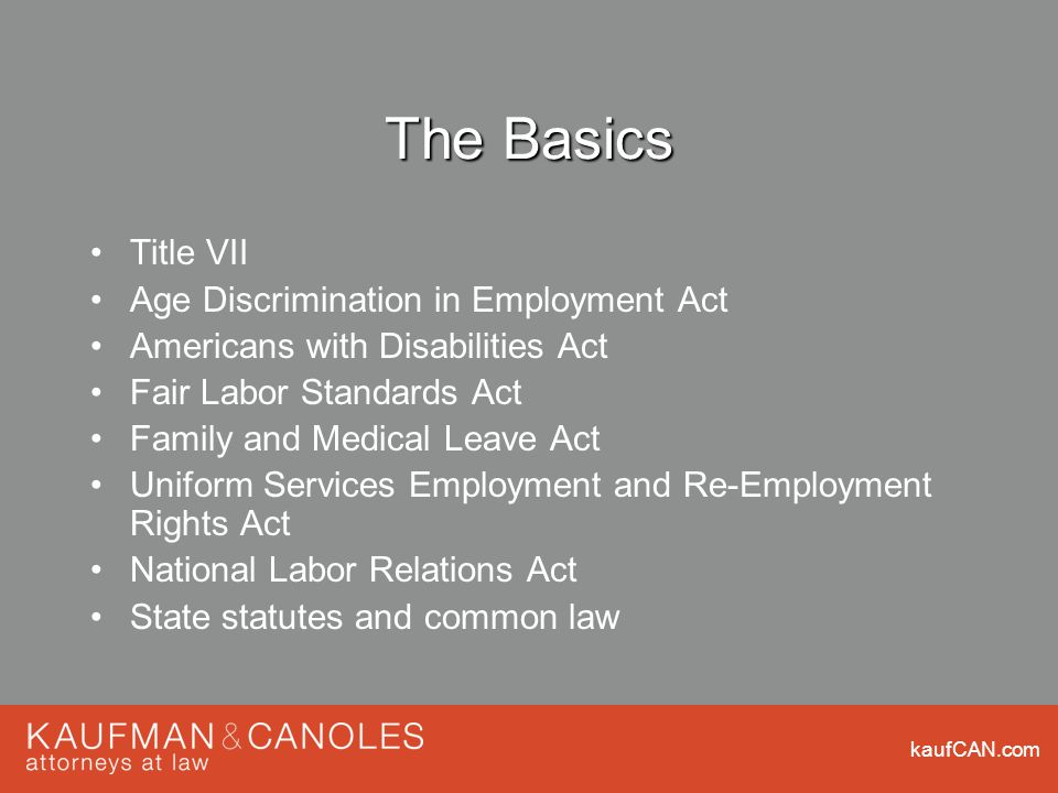 kaufCAN.com The Basics Title VII Age Discrimination in Employment Act Americans with Disabilities Act Fair Labor Standards Act Family and Medical Leave Act Uniform Services Employment and Re-Employment Rights Act National Labor Relations Act State statutes and common law