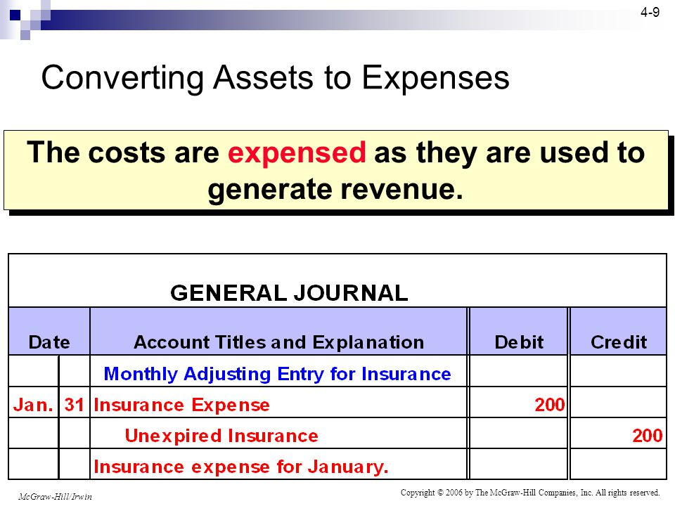 McGraw-Hill/Irwin Copyright © 2006 by The McGraw-Hill Companies, Inc. All rights reserved. 4-8 Initially, costs that benefit more than one accounting