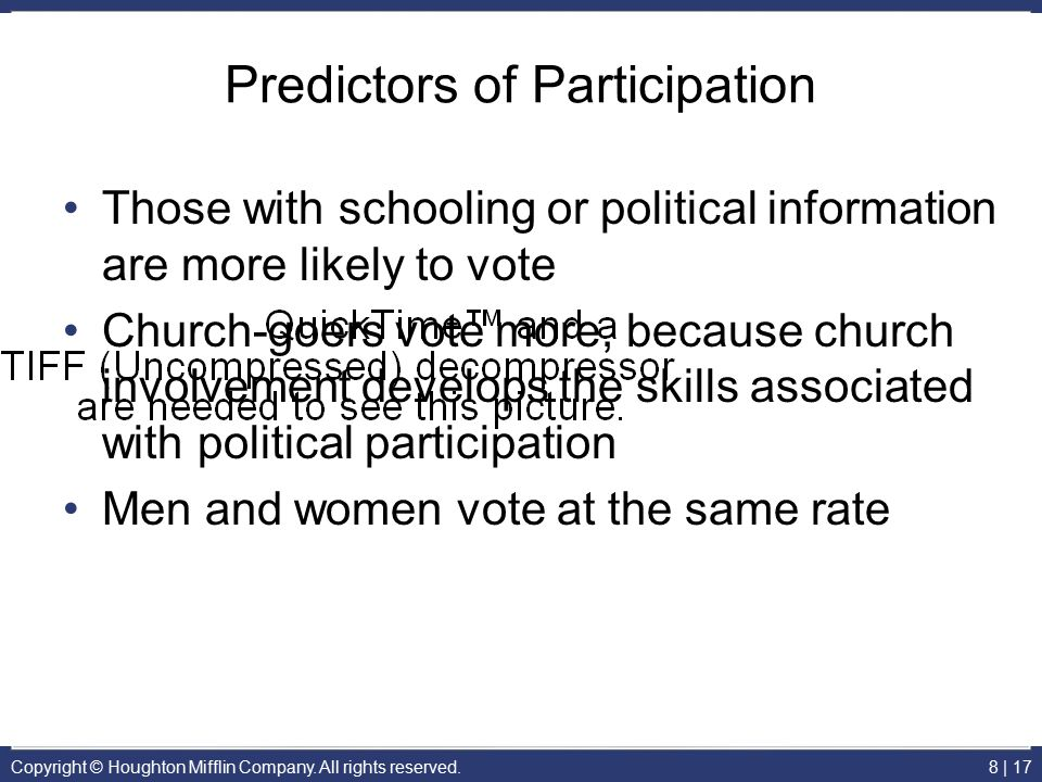 Copyright © Houghton Mifflin Company. All rights reserved.8 | 17 Predictors of Participation Those with schooling or political information are more li