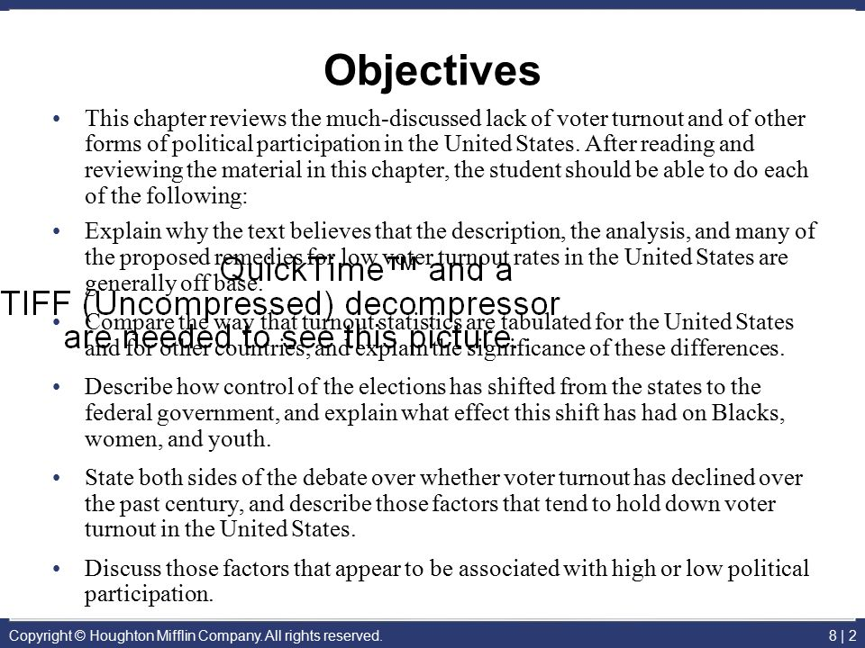 Copyright © Houghton Mifflin Company. All rights reserved.8 | 2 Objectives This chapter reviews the much-discussed lack of voter turnout and of other