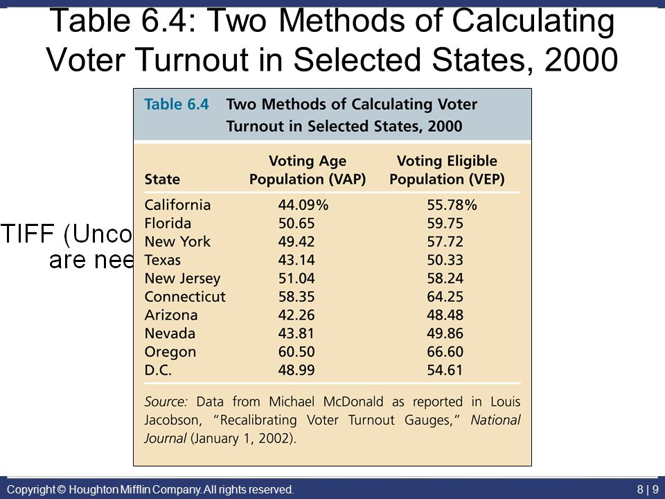 Copyright © Houghton Mifflin Company. All rights reserved.8 | 9 Table 6.4: Two Methods of Calculating Voter Turnout in Selected States, 2000