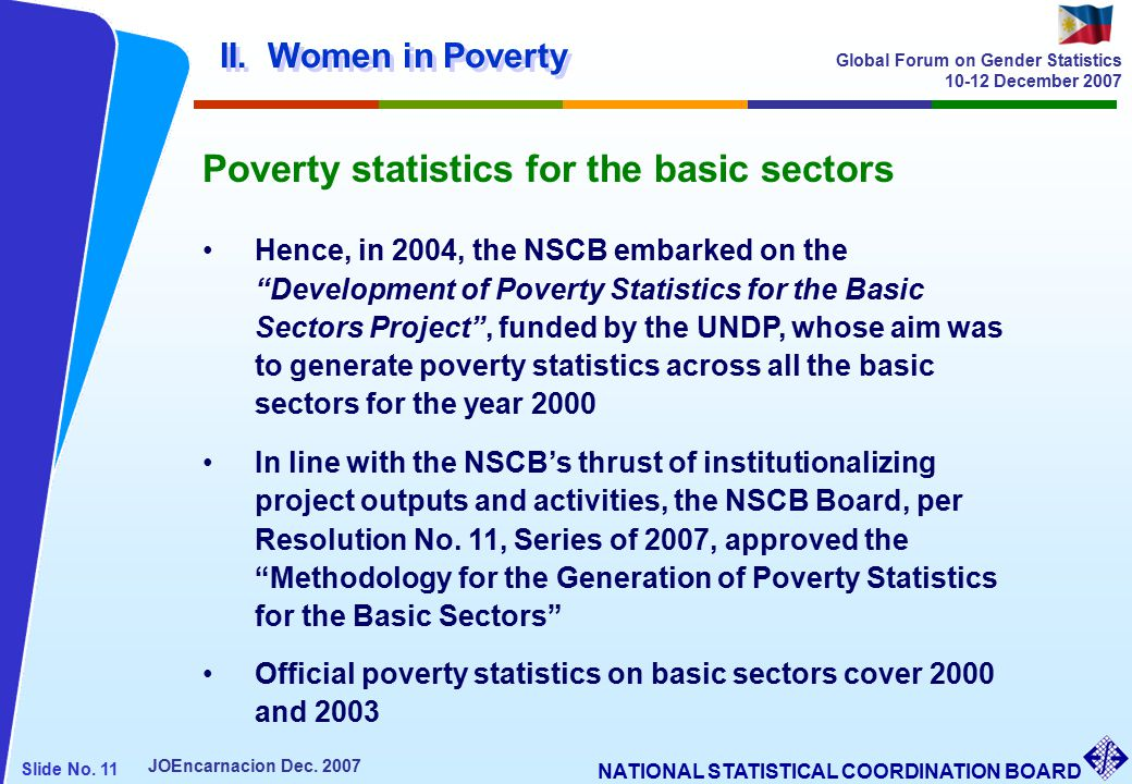 NATIONAL STATISTICAL COORDINATION BOARD Slide No. 11 JOEncarnacion Dec.