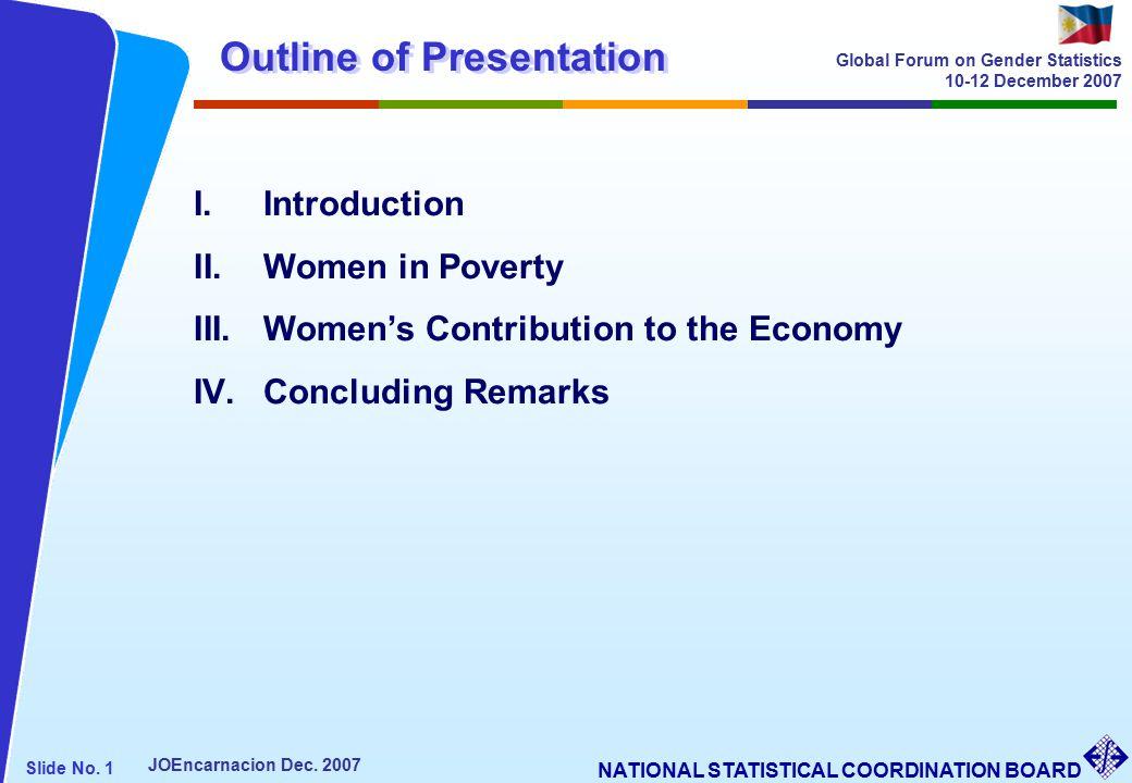 NATIONAL STATISTICAL COORDINATION BOARD Slide No. 1 JOEncarnacion Dec.
