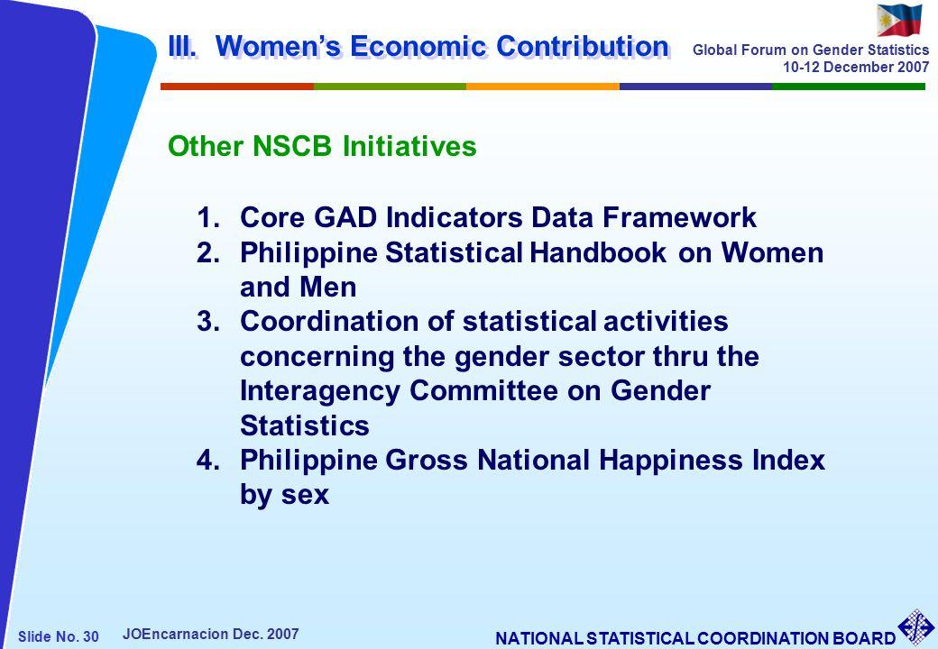 NATIONAL STATISTICAL COORDINATION BOARD Slide No. 30 JOEncarnacion Dec.