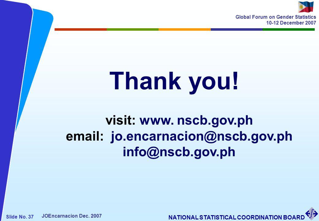 NATIONAL STATISTICAL COORDINATION BOARD Slide No. 37 JOEncarnacion Dec.