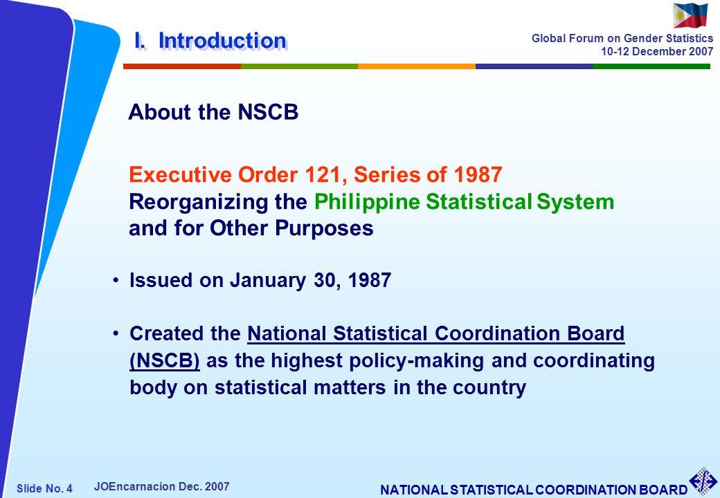 NATIONAL STATISTICAL COORDINATION BOARD Slide No. 4 JOEncarnacion Dec.