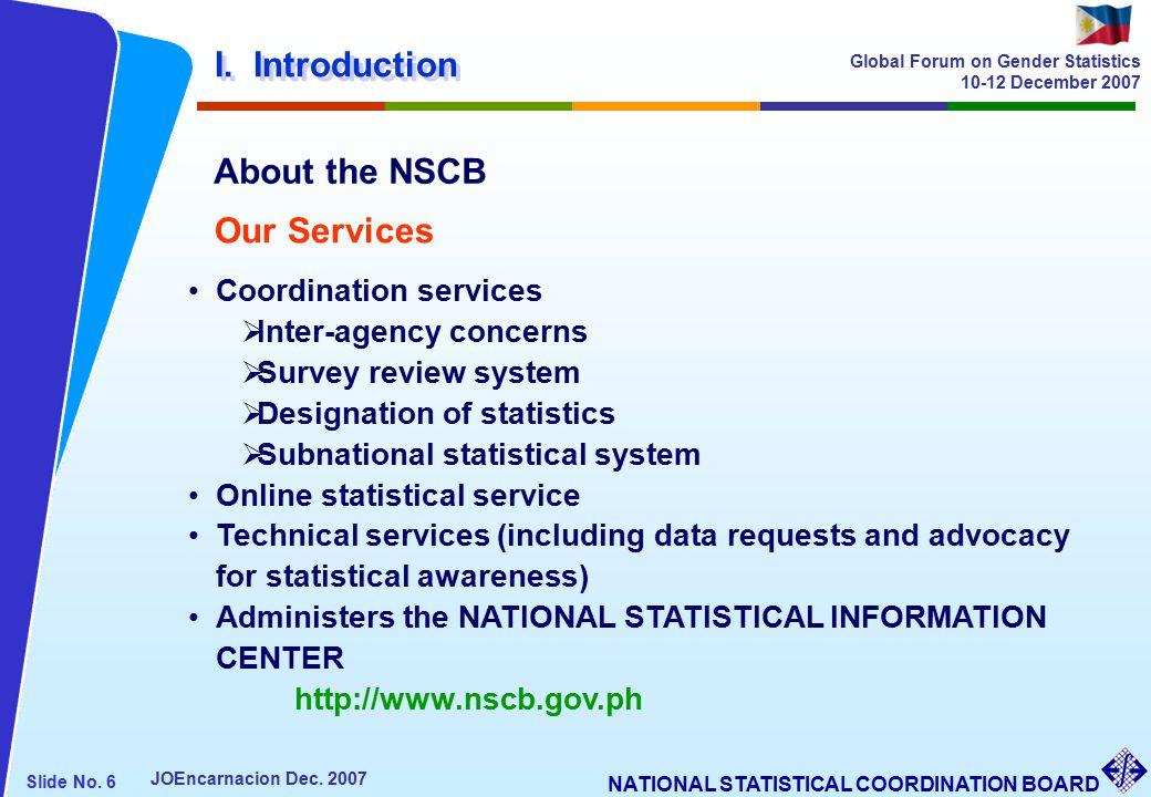 NATIONAL STATISTICAL COORDINATION BOARD Slide No. 6 JOEncarnacion Dec.