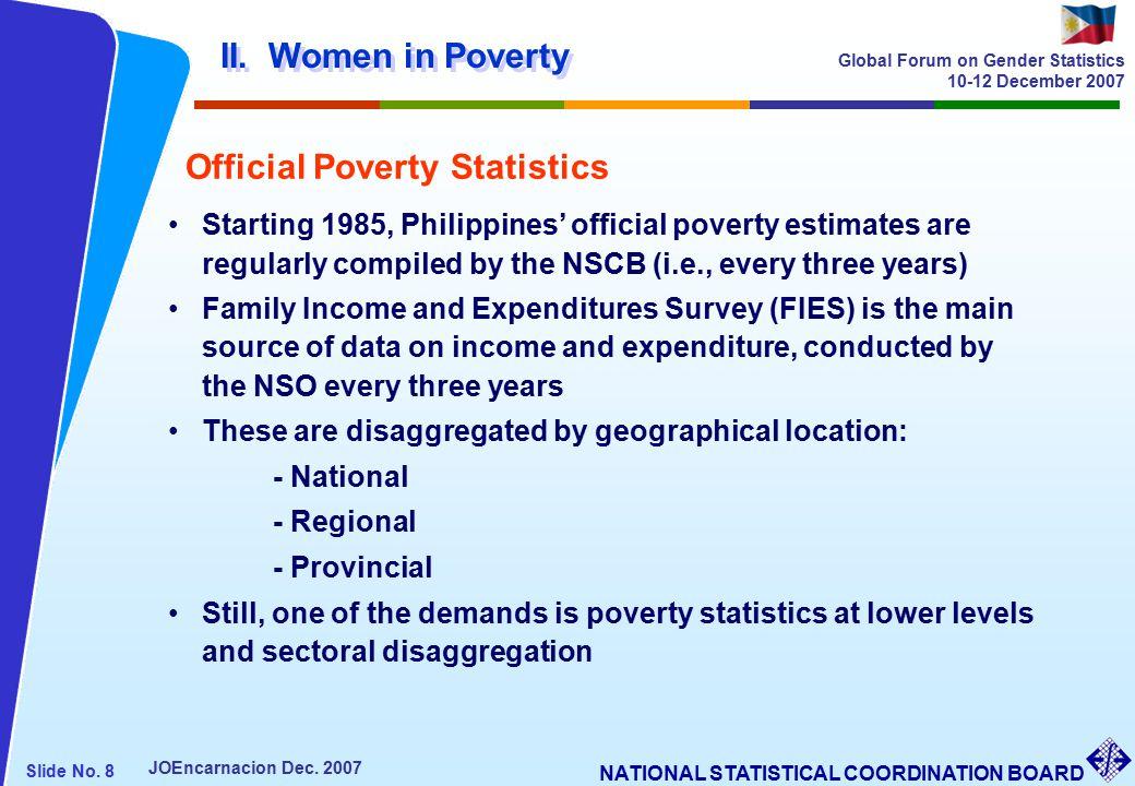 NATIONAL STATISTICAL COORDINATION BOARD Slide No. 8 JOEncarnacion Dec.