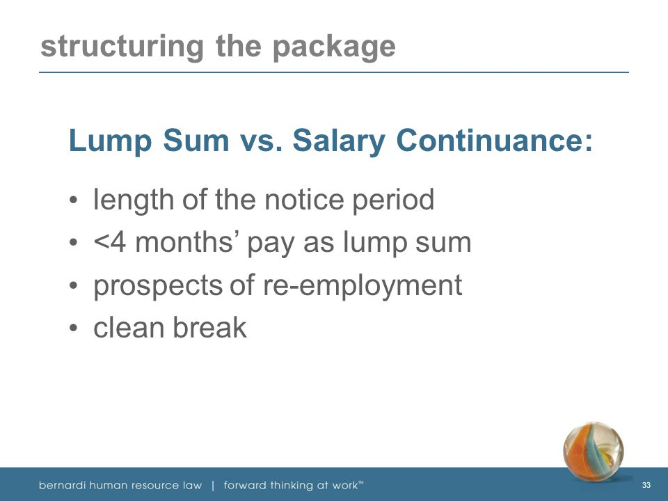 33 structuring the package Lump Sum vs.