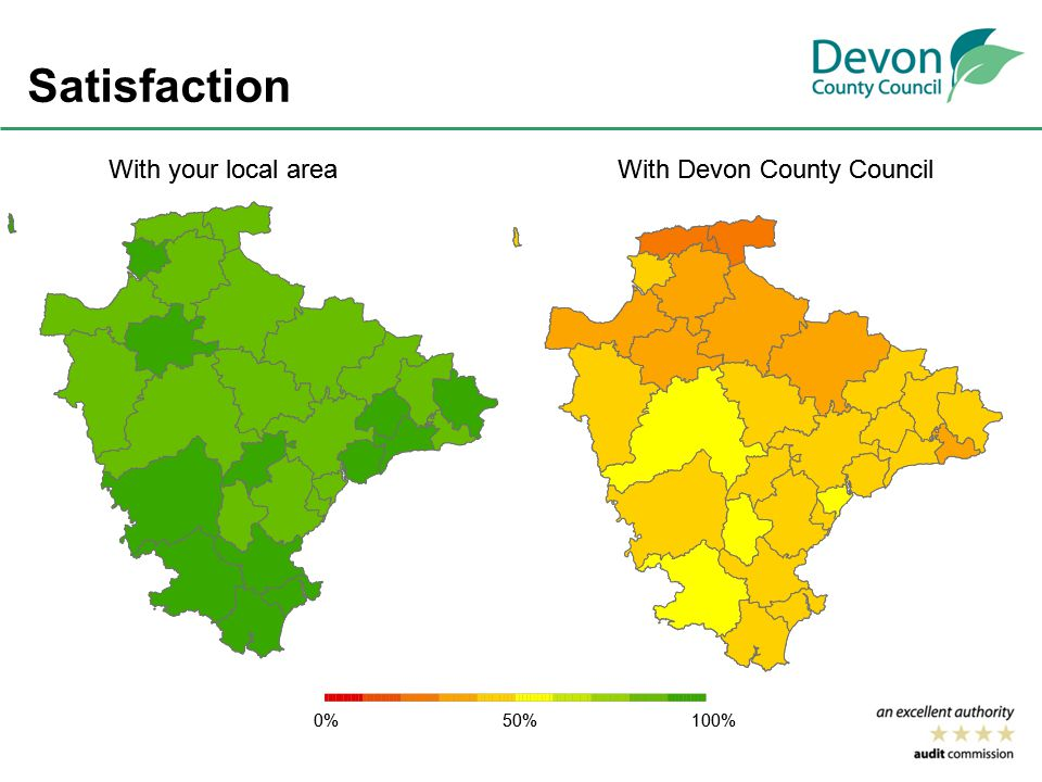 Satisfaction 0%50%100% With Devon County CouncilWith your local area 0%50%100% With Devon County CouncilWith your local area