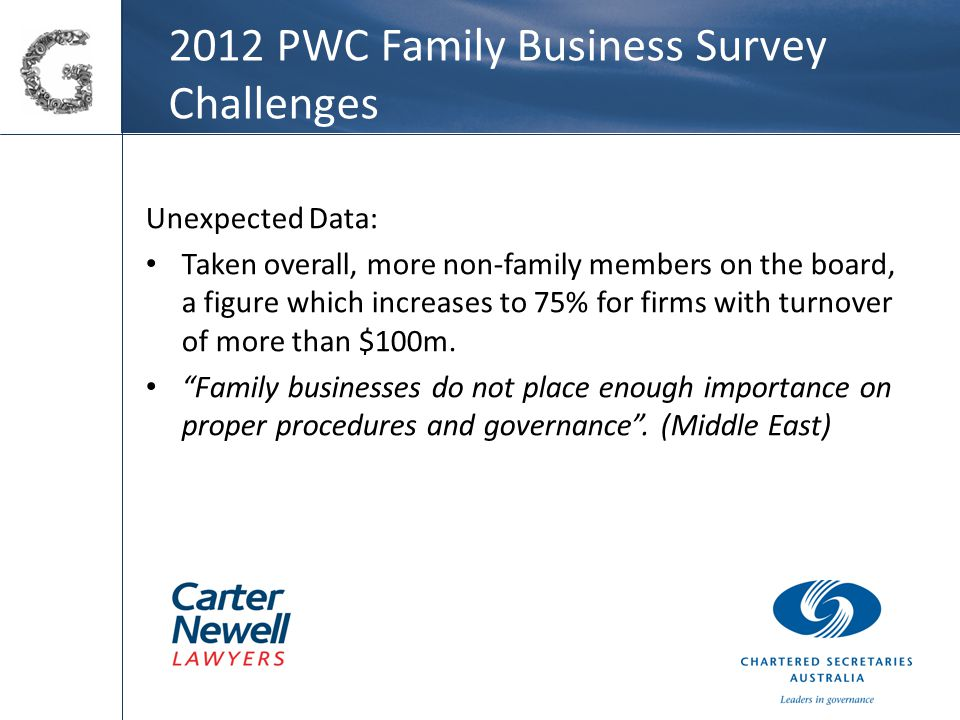 2012 PWC Family Business Survey Challenges Unexpected Data: Taken overall, more non-family members on the board, a figure which increases to 75% for firms with turnover of more than $100m.