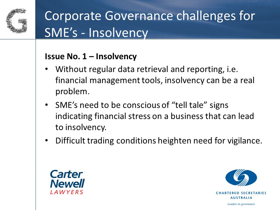 Corporate Governance challenges for SME's - Insolvency Issue No.
