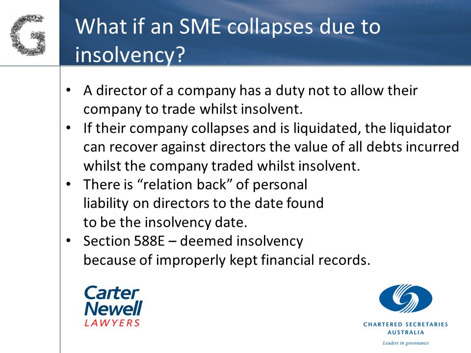 What if an SME collapses due to insolvency.