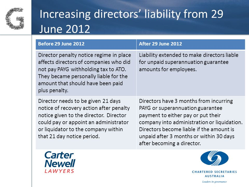 Increasing directors' liability from 29 June 2012 Before 29 June 2012After 29 June 2012 Director penalty notice regime in place affects directors of companies who did not pay PAYG withholding tax to ATO.