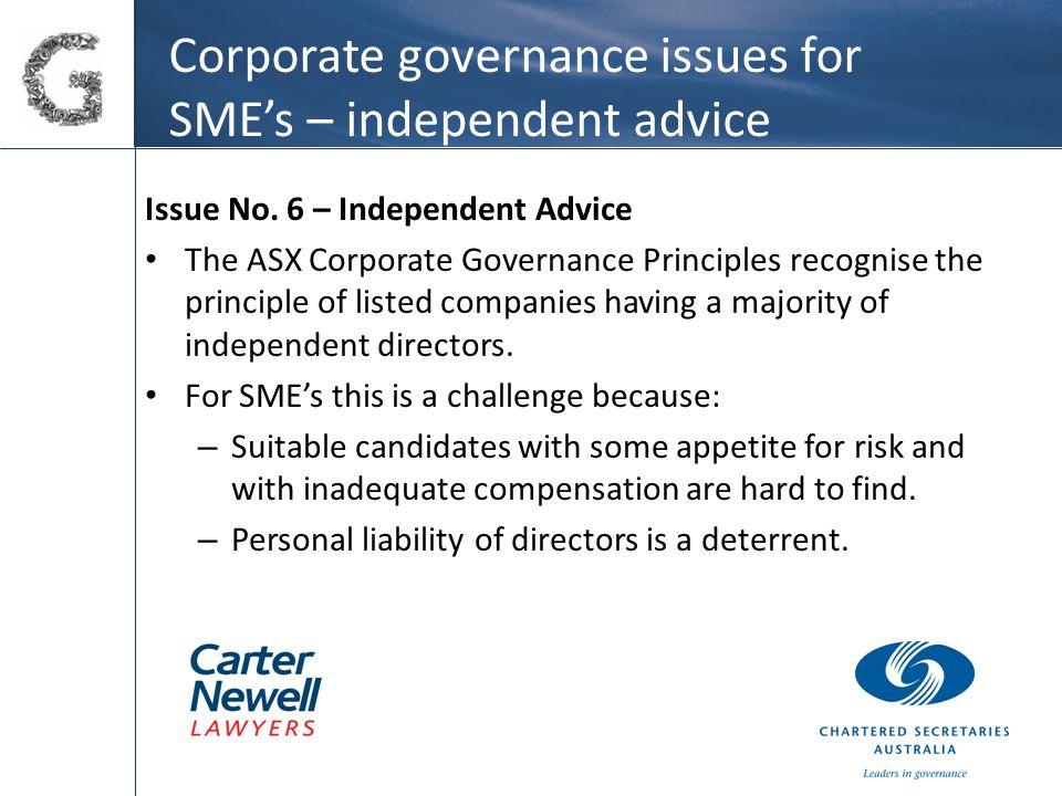 Corporate governance issues for SME's – independent advice Issue No.
