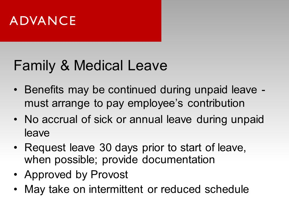 Parental Leave & Family Supports Eligibility: –TTK/non-TTK faculty of > 50% FTE –employed for 1 semester (instructional faculty) or 6 months (non-instructional faculty) 8 weeks paid leave –Must be charged to any annual/personal/sick/collegial leave first –Remainder supplemented by the institution No work duties required during this 8 weeks